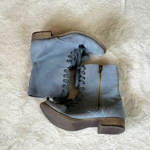 MIA combat boot blue faux suede 7.5